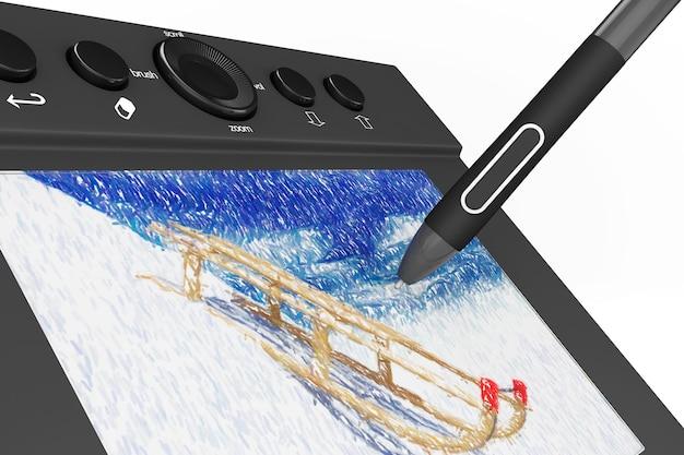 Tableta gráfica digital con lápiz y trineos dibujo sobre un fondo blanco.