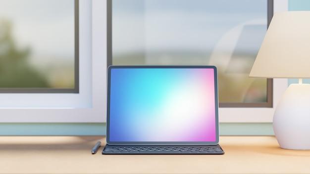 Tableta de pantalla grande con estuche teclado lápiz y lámpara blanca colocada sobre la mesa de madera y el fondo de las ventanas. imagen de renderizado 3d.