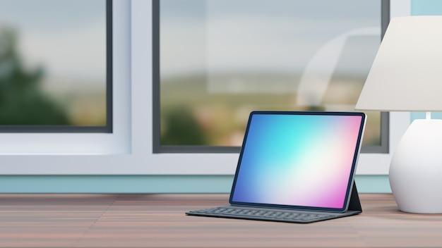 Tableta de pantalla grande con teclado de caja y lámpara blanca colocada sobre la mesa de madera y el fondo de las ventanas. imagen de renderizado 3d.