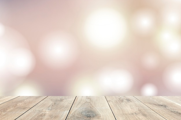 Tablones de madera beige con luces bokeh