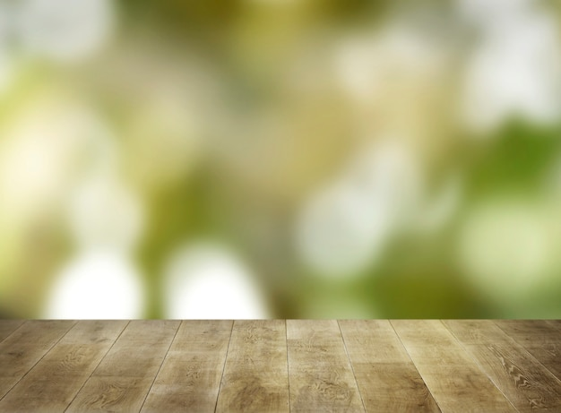 Tablones de madera beige con natural borrosa