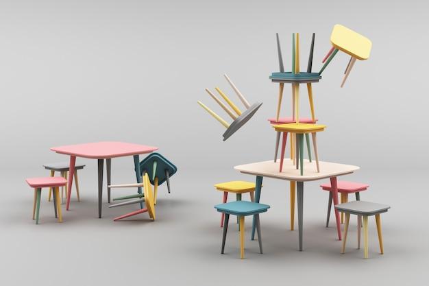 Taburete minimalista moderno en representación 3d gris
