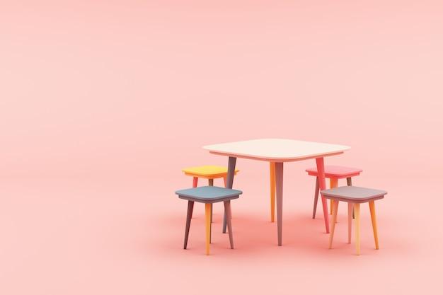 Taburete minimalista moderno en representación 3d rosa
