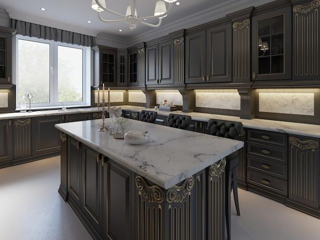Taburetes negros en la isla de la cocina en la luminosa sala de estar. representación 3d