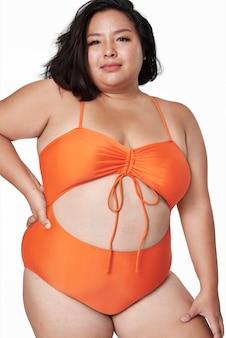 Talla incluida ropa de baño naranja moda
