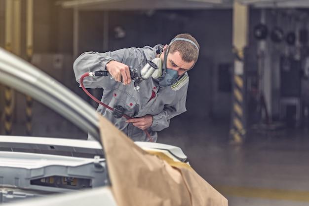 El taller de pintura de carrocerías para empleados realiza elementos de pintura.