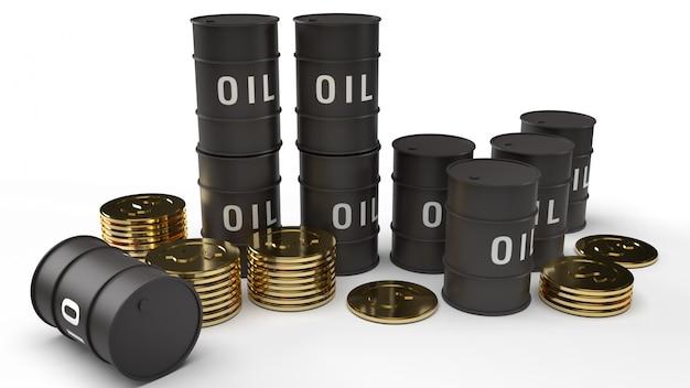 Tanque de aceite y monedas de oro 3d para contenido de gasolina.