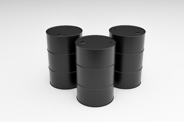 Tanque de combustible negro sobre fondo blanco, representación de ilustración 3d