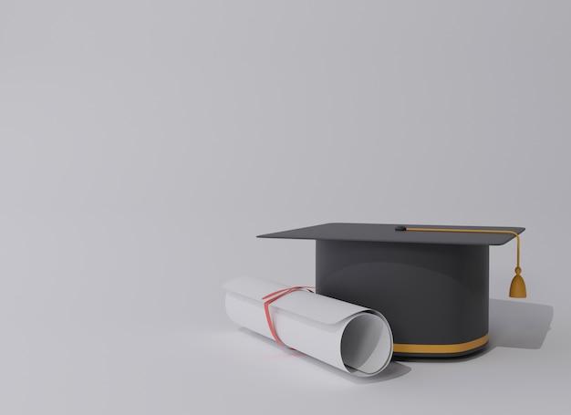 Tapa de graduación con diploma