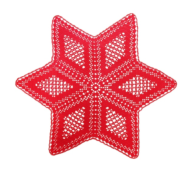 Tapete de crochet calado, la estrella de navidad, aislado en blanco