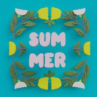 Tarjeta de arte popular de verano con flores y texto verano