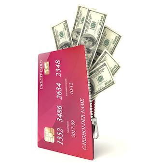 Tarjeta de crédito abierta 3d con billetes de un dólar, aislado