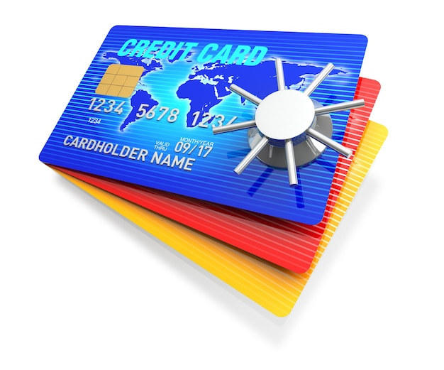 Una tarjeta de crédito azul de renderizado 3d con caja fuerte