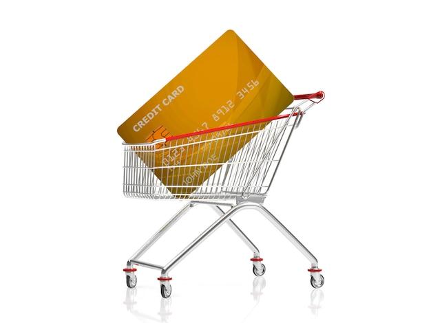 Tarjeta de crédito dorada en carrito de compras representación 3d