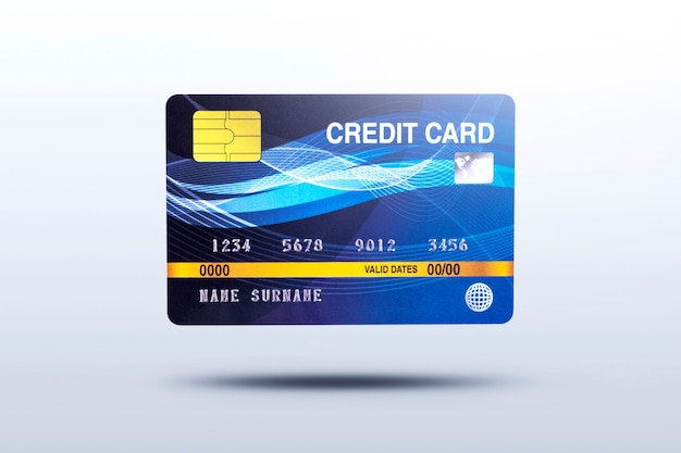 Tarjeta de crédito empresarial aislada sobre fondo gris con sombra