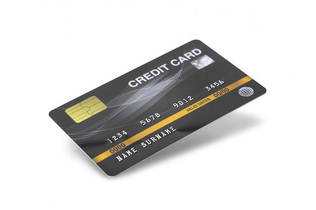 Tarjeta de crédito negra aislada en el fondo blanco con la trayectoria de recortes.