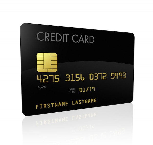 Tarjeta de crédito negro aislado en blanco con trazado de recorte