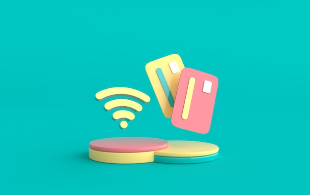 Tarjeta de crédito en el podio, símbolo wifi. compras en línea, concepto de pago render