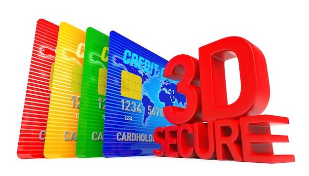 Una tarjeta de crédito de renderizado 3d con texto seguro en 3d