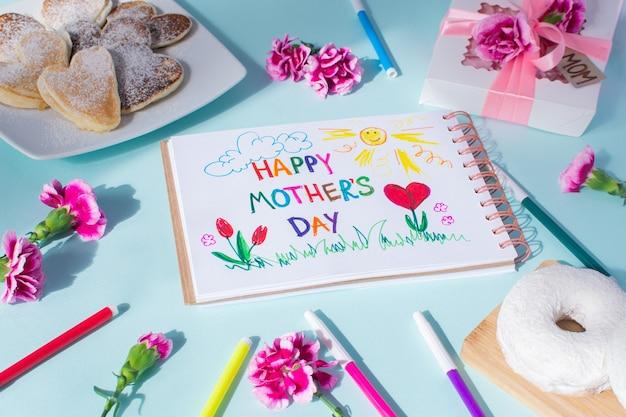 Tarjeta del día de la madre. texto feliz día de las madres. desayuno, panqueque, clavel, obsequio y una postal hecha por los peques para mamá.