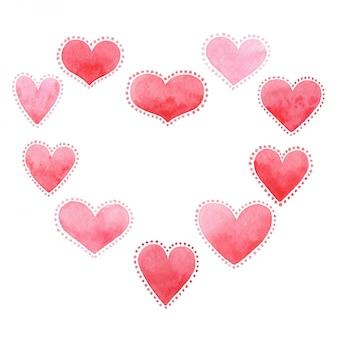 Tarjeta para el día de san valentín, acuarela, amor.