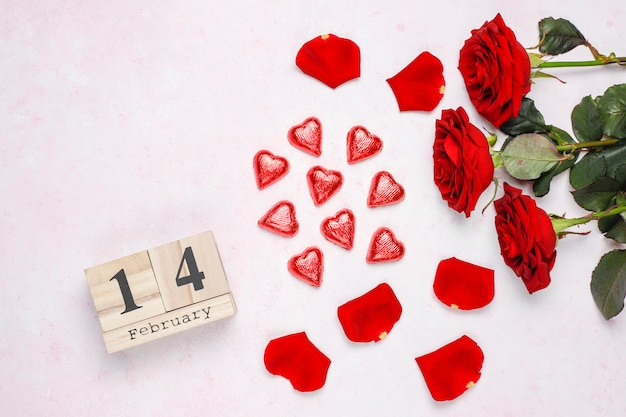 Tarjeta del día de san valentín con rosas