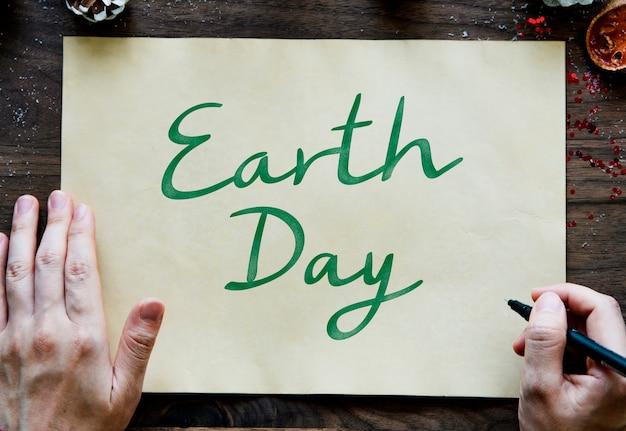 Tarjeta del día de la tierra que apoya la protección del medio