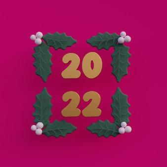 Tarjeta de felicitación 3d de año nuevo 2022