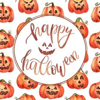 Tarjeta de felicitación con acuarela calabaza de halloween.