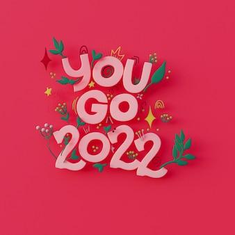 Tarjeta de felicitación de año nuevo 2022 arte 3d