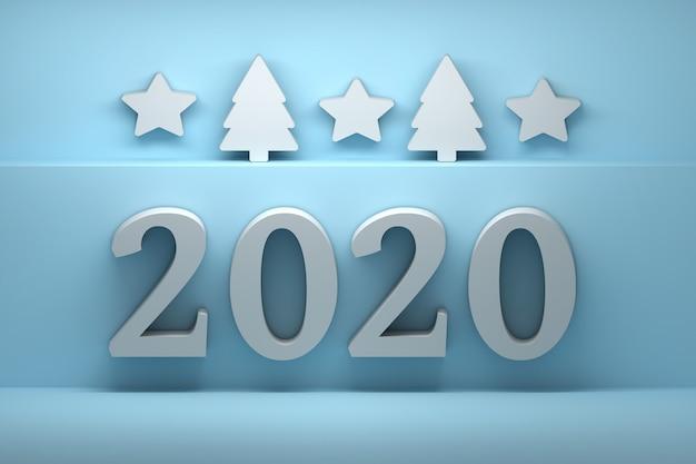 Tarjeta de felicitación de año nuevo con grandes números 2020 sobre fondo azul