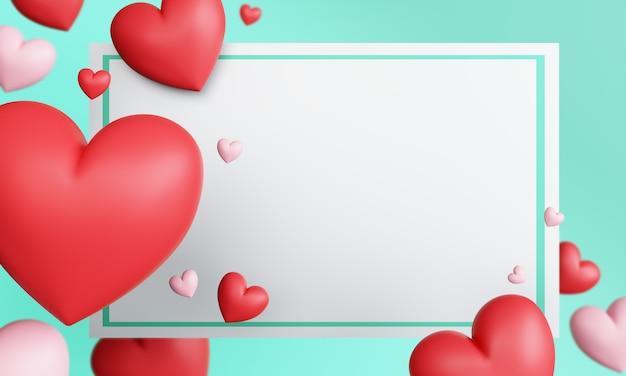 Tarjeta de felicitación en blanco de san valentín con corazones rojos y rosados