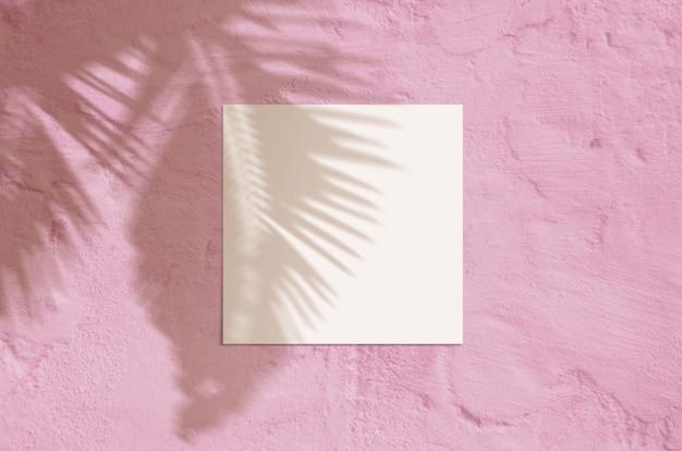 Tarjeta de felicitación en blanco de vista superior plana con hoja de palma y superposición de sombra de ramas en color rosa grunge.