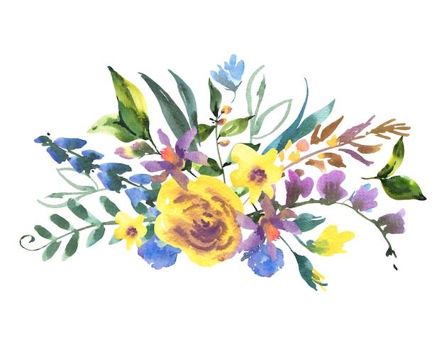 Tarjeta de felicitación floral acuarela vintage con flores silvestres