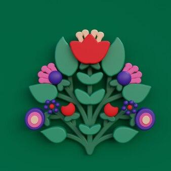 Tarjeta de felicitación de flores de arte popular ornamento botánico ilustración de procesamiento 3d