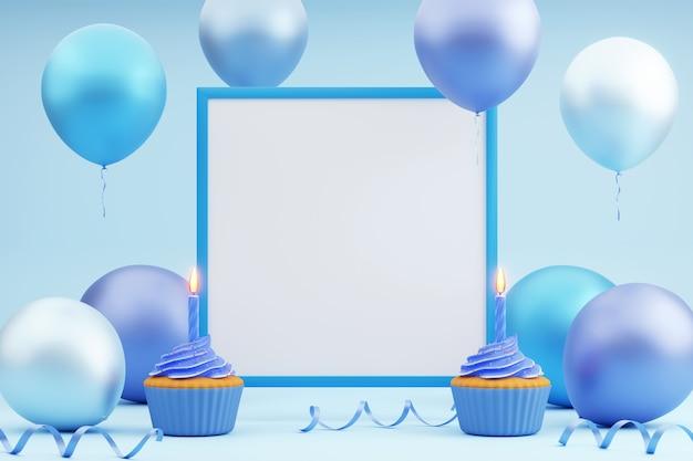 Tarjeta de felicitación con marco azul vacío, dos cupcakes con velas y globos de colores alrededor sobre fondo azul. representación 3d. plantilla festiva, vacaciones o fondo de fiesta.
