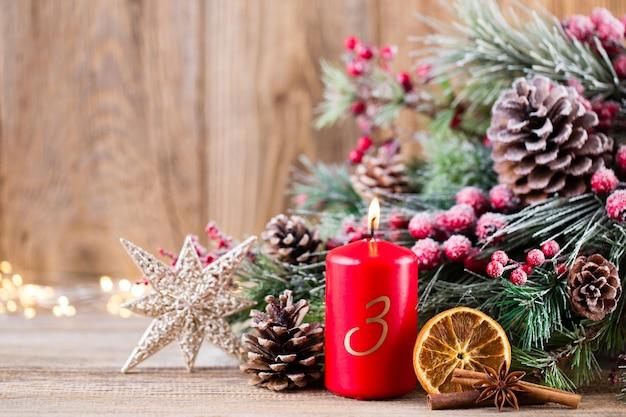Tarjeta de felicitación de navidad. decoración festiva. concepto de año nuevo. endecha plana. vista superior.