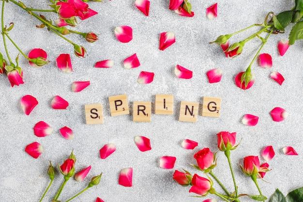 Tarjeta de felicitación de primavera con flores color de rosa.