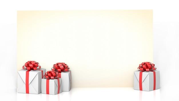 Tarjeta de felicitación con regalo con fondo blanco.