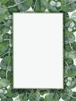 Tarjeta floral acuarela con hojas de eucalipto en verde y marco morado. diseño decorativo de plantillas clásicas y elegantes con espacio de copia para invitación, cumpleaños, boda, fondo del día de la madre
