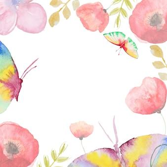 Tarjeta de flores acuarela