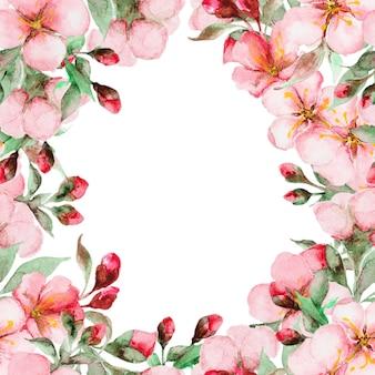 Tarjeta de flores de sakura acuarela