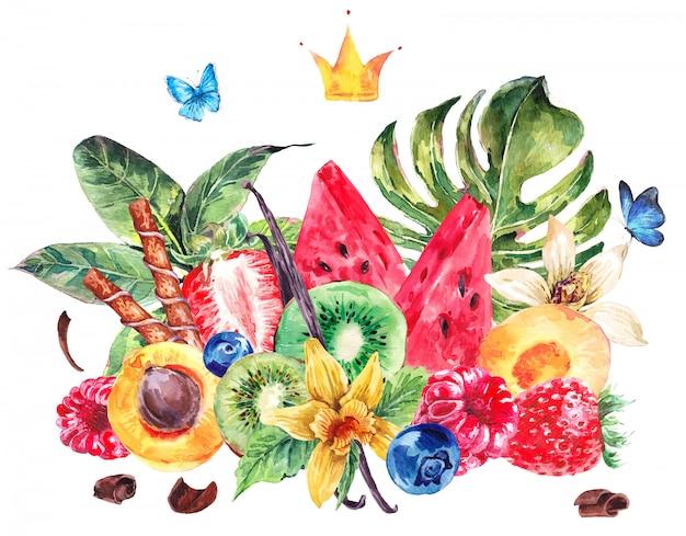 Tarjeta de frutas acuarela menú exótico