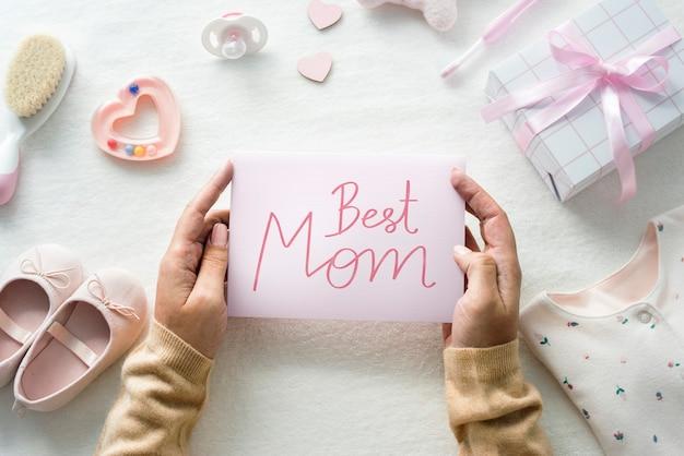 Tarjeta de la mejor mamá con tema de baby shower