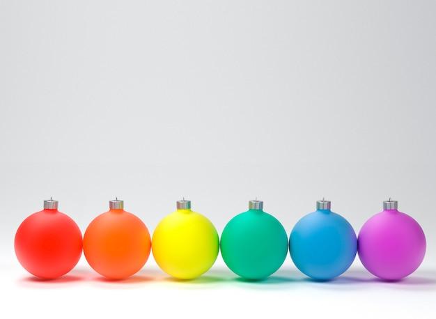 Tarjeta de navidad, colores de la bandera del orgullo lgbt