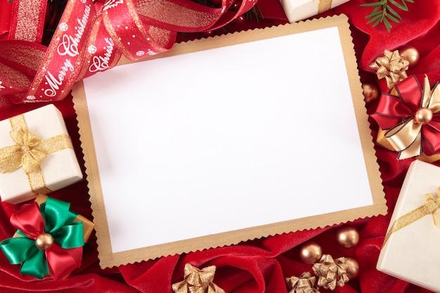 Tarjeta de navidad con marco beige