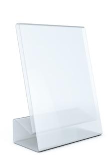Tarjeta de placa de mesa transparente en blanco blanco sobre un fondo blanco