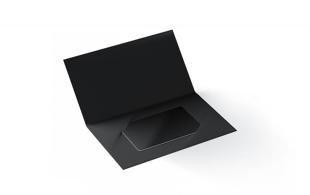 Tarjeta plástica negra en blanco dentro del porta folletos de papel