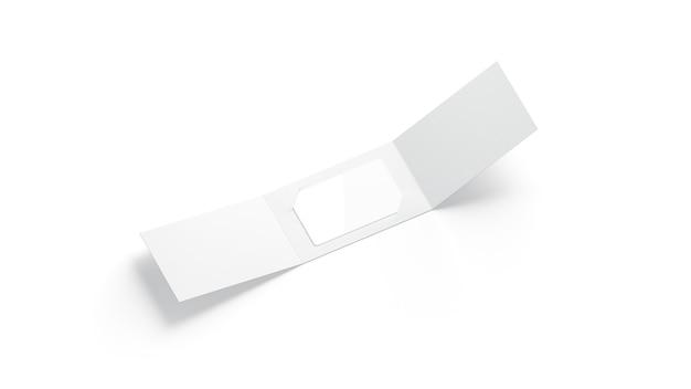 Tarjeta de plástico blanco en blanco dentro del porta folletos de papel abierto, representación 3d.