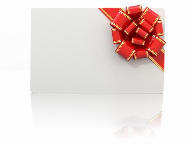 Tarjeta de regalo en blanco con cinta y lazo. espacio para texto